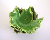 Ceramic Maple Leaf - Tea Light Holder/Ring Holder/Tea Bag Holder/Home Decor - Spring Green - Handmade Pottery
