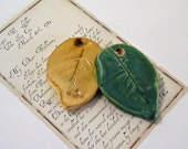"""Ceramic Leaf Pendant - """"Southern Woods"""" - Focal Point/Necklace/Gift Tag - Speckled Moss - Handmade Pottery"""