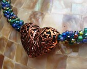 Copper Filigree Heart on Blue and Green Kumihimo Braided Chain Necklace