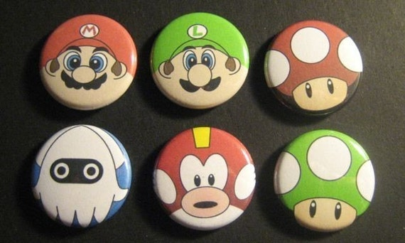 Super Mario Brothers 1 inch button set B