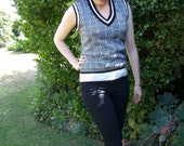 Black and White Knitted Vest
