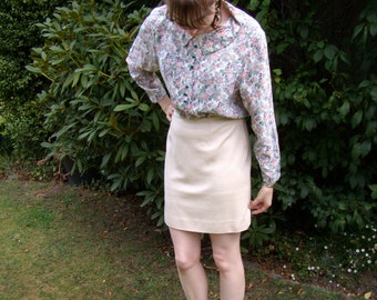 1980s Floral Blouse with Peter Pan Collar