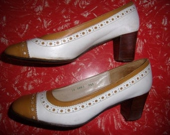 1960s Vintage Two Tone Brogue Style Saddlemaster Heels