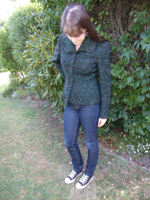 Forest Green Vintage 1950s Selby Bobble Fleck Textured Jacket