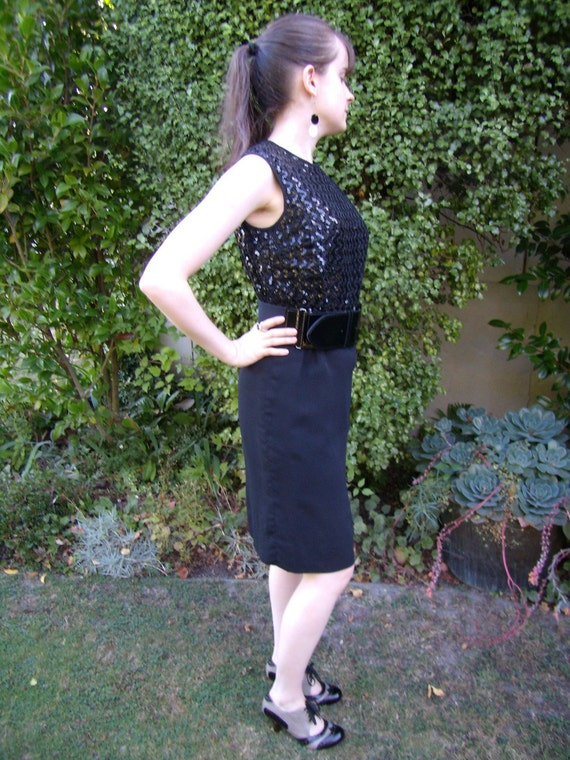 Vintage 1960s Mad Men Style Black Sequin Cocktail Dress