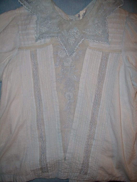 Reserved for KSF Pale Blue Cotton French Vintage 1970s Style Blouse