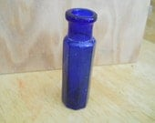 Rare cobalt blue minature  glass bottle