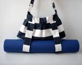 Yoga Mat Bag Navy Blue and White Stripes with Straps for Yoga Mat Handmade hobo BabiminiS