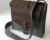 Messenger Bag in Brown and Gray Wool Felt