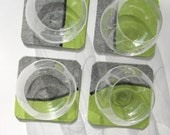 Felt Wool Coasters in Gray and Green