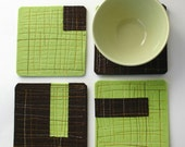 Felt Coasters in Green and Chocolate Brown Merino Wool with Orange Top-Stitching