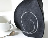 Tea Cozy in Charcoal Merino Wool Felt Embroidered