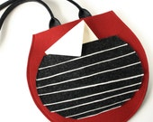 Charcoal and Red Round Wool Felt Purse