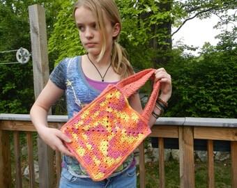 Hand-crocheted granny square tote bag