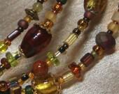Beaded Bangle Bracelet in Autumn Colors ,  Medium - Large