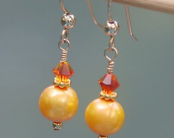 Bright Yellow and Orange Earings on Gold Filled Wires