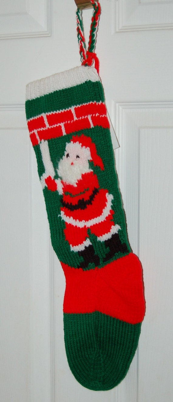 Items similar to Christmas Stocking, hand knit from a vintage pattern on Etsy