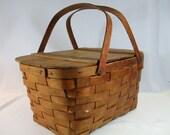 Vintage Wood Huge Woven Picnic Basket
