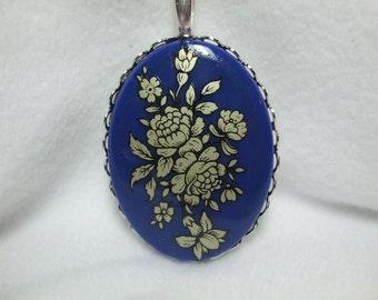 Vintage  Cameo Necklace German Cabochon Pendant Vintage Fabulous Acrylic Blue Floral Reproduction