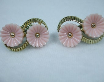 Vintage Light Pink Lucite Double Flower Gold Tone Setting Earrings Signed Coro