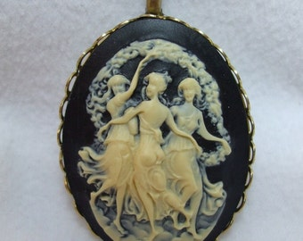 Vintage Cameo Pendant Mythological Three Graces Carved Lucite Necklace Reproduction