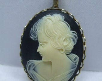 Vintage  Black and Cream Cameo Pendant Necklace Reproduction