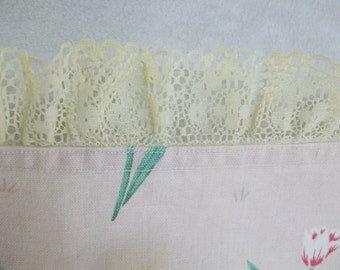 VintageTable Runner or Dresser Scarf Pink with Flowers and Lace Trim
