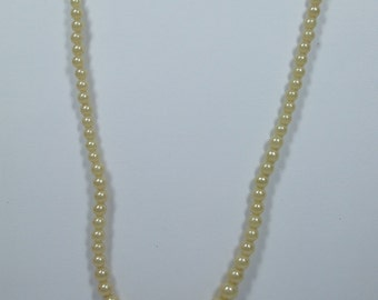 Vintage Off white Pearl Necklace with a Rectanguler Silver clasp