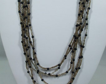 Vintage Seed Bead Multi  Colored Twisted Multi Strand Necklace Costume Jewelry