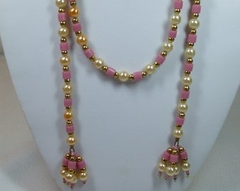 Vintage Pearl and Pink Bead Necklace