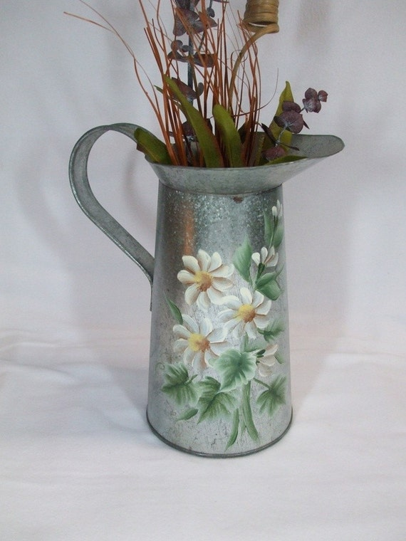 Vintage Tin Or Aluminum Hand Painted Water Pitcher Vase
