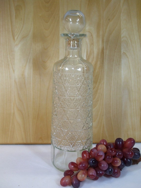Vintage Decanter Carafe for Alcohol Clear Glass with Cork Stopper Pressed Glass