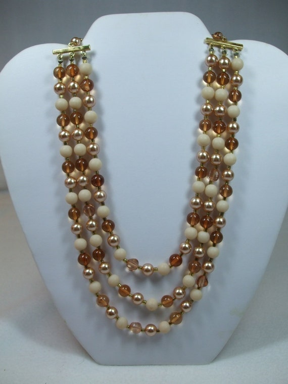 Vintage Cream, Brown and Clear Three Strand Bead Necklace Costume Jewelry