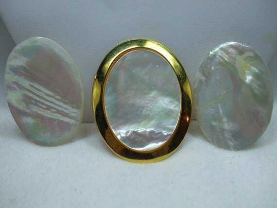 Vintage Gorgeous Mother of Pearl Demi Set Pierced Earrings and Dress Clip