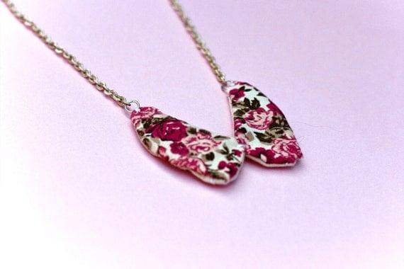 Vintage Collar Necklace, Pink Flower Necklace