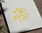 wild-rose letterpress, yellow