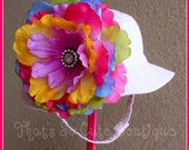 Pink Baby Bucket Sun hat with a Large Rainbow Flower and Rhinestone Center