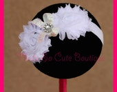 White Double Shabby Chic Chiffon Flower Stretch Headband with Sparkle Rhinestone Cluster