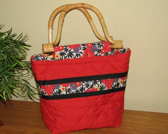 CLEARANCE SALE - 50% OFF -  Boutique Bag... Quilted Purse / Handbag - Asian Blossoms on Red