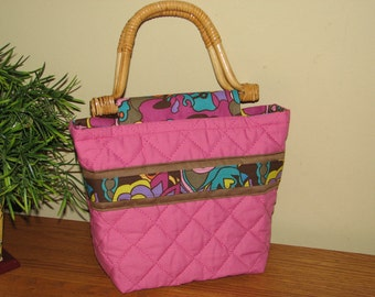 CLEARANCE SALE - 50% OFF -  Boutique Bag... Quilted Purse / Handbag - Abstract Colours on Pink