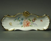 Most gorgeous gilded ANTIQUE Dresser tray - porcelain - NOT marked (lost foil sticker)