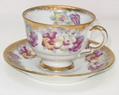 Stunning NAPCO cup and saucer from the 1950s -- gold trim -- handpainted -- MATCHING NUMBERS