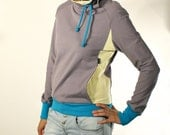 Grey sweatshirt, Cowl neck sweatshirt, Cozy sweatshirt, Extra long sleeves (M033N2)