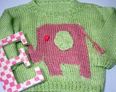 Hand Knit Green and Pink Sweater with Elephant Detail Siza 3-6 Months