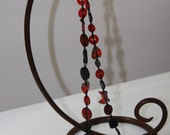 Red and Black Button Necklace - 36 inches