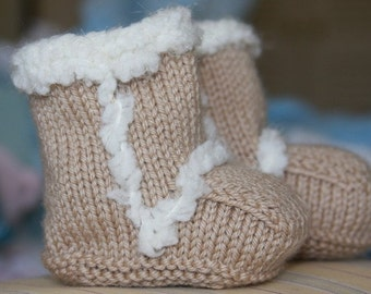Hand Knit Ugg Style Baby Booties Size 0-3 - 6-9 - 12 months