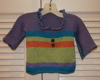 Hand Knit Striped Baby Sweater Size Newborn to 3 months