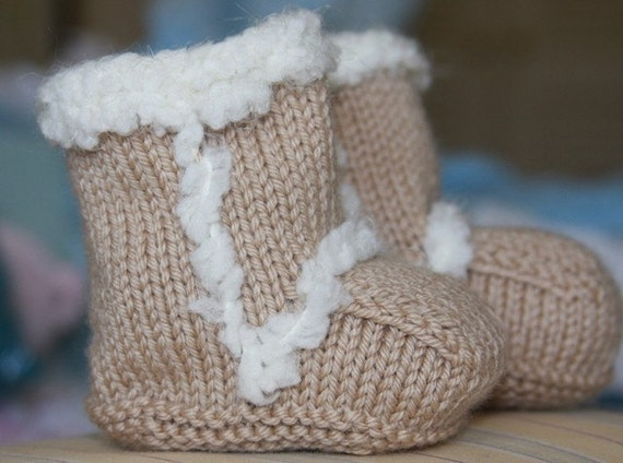 Girls Knitted Hat Pattern : Hand Knit Ugg Style Baby Booties Size 0-3 6-9 12 months
