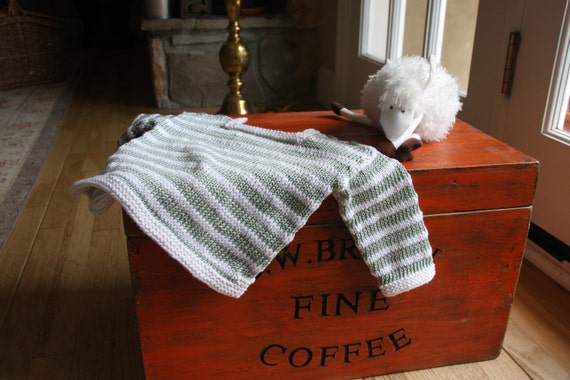 Hand Knit Striped Baby Sweater and Hat Set Size Newborn to 3 months