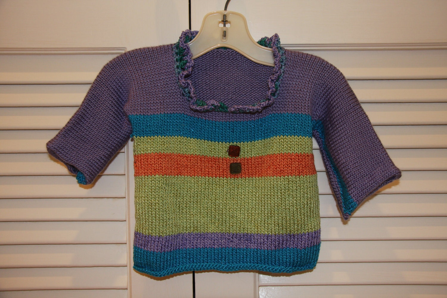 Knitting Baby Sweater Measurements : Hand knit striped baby sweater size newborn to months